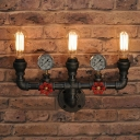 Industrial Loft Plumbing Wall Sconce 3 Lights 15'' Width