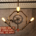 Industrisl Octagon Multi-Light Pendant with Gear Accent in Rust Finish 4 Lights