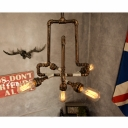 Industrial Chandelier with Bare Edison Bulbs in Bronze Finish, 5 Lights 23.6'' Width