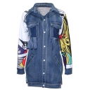New Trendy Fashion Printed Color Block Long Sleeve Buttons Down Denim Coat