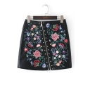 New Stylish Oblique Zip Fly Embroidery Floral Pattern Mini PU Skirt