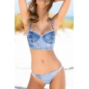 New Collection Fashion Denim Push Up Bikini Itsy Bottom Bikini Swimwear