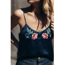 Chic Floral Embroidered Spaghetti Straps Sleeveless Fashion Cami Top