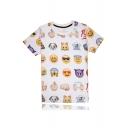Funny Cartoon Emoji Printed Round Neck Short Sleeve Unisex Pullover T-Shirt