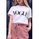 Hot Fashion Summer's Letter Printed Round Neck Short Sleeve T-Shirt