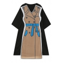 Chic Fake Two-Piece V Neck Half Sleeve Patchwork Midi Swing A-Line Dress