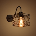 Industrial Wall Sconce with Gooseneck Arm and Novelty Pattern Metal Cage