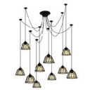 Industrial Multi Pendant Light 10 Light with Novelty Bowl Shade in Black