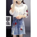 Chic Floral Embroidered Lapel Collar Half Sleeve Buttons Down Shirt with Mini A-Line Denim Skirt