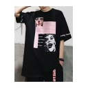 Street Style Letter Clown Pattern Round Neck Half Sleeve Loose Unisex T-Shirt