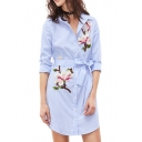 Summer's Floral Embroidered Striped Print Lapel Collar Long Sleeve Mini Shirt Dress