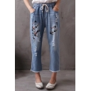 Chic Floral Embroidered Ripped Out Drawstring Waist Leisure Capris Jeans