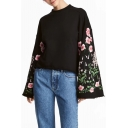 Chic Floral Embroidered Long Sleeve Flared Sleeve Crew Neck Pullover Sweatshirt