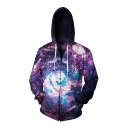 New Stylish Digital Whirlpool Printed Long Sleeve Unisex Zip Up Hoodie