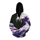 3D Sea Wave Printed Long Sleeve Unisex Zip Up Hoodie with Pockets