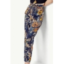 Summer's Holiday Beach Floral Printed Tied Waist Tapered Pants