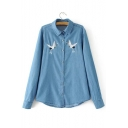 Chic Crane Embroidered Long Sleeve Lapel Collar Buttons Down Chambray Shirt