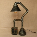Industrial Antique Bronze Table Lamp with Conical Shade with Socket and USB Port Accent