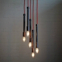 Industrial Mult-Light Pendant in Black Finish with Red Cord, 5 Lights
