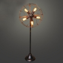Indsutrial Chandelier Floor Lamp with Metal Guard in Rust Finsh