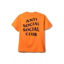Fashion ANTI SOCIAL SOCIAL CLUB Letter Printed Back Short Sleeve Round Neck Tee