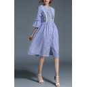 New Arrival Fashion Floral Embroidered Striped Printed Buttons Down Midi Shirt Dress