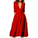 Hot Fashion Elegant Chic Plunge Neck Half Sleeve Plain Midi A-Line Dress