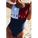 Hot Fashion Color Block Simple Letter Printed One Piece Swimwear