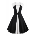 Hot Fashion Vintage Square Neck Sleeveless Color Block Midi Flared Dress