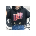 Street Style Metal Ring Embellished Hooded Short Sleeve Character Print Cropped Tee