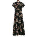 Summer's Fashion Floral Printed Plunge Neck Short Sleeve Maxi Beach Dress