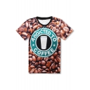 New Stylish 3D Coffee Beans Pattern Round Neck Short Sleeve Pullover T-Shirt