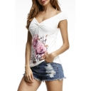 Summer's Plunge Neck Cap Sleeve Chic Floral Pattern Fitted T-Shirt