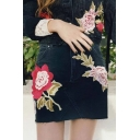 Summer's Chic Floral Embroidered High Rise Mini Denim Bodycon Skirt with Pockets