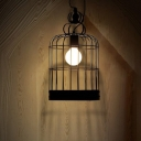 Industrial Hanging Pendant Light with Bird Lantern Shade in Black