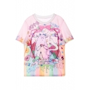 Summer's Lovely Cartoon Printed Round Neck Short Sleeve Loose T-Shirt