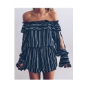 Sexy Off The Shoulder Long Sleeve Classic Striped Printed Rompers