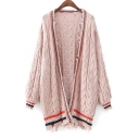 New Collection Open Front Long Sleeve Color Block Striped Printed Cable Knit Cardigan