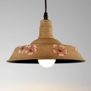 Industrial Single Pendant Light Vintage with Flower Pattern Shade in Brass