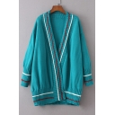 New Fashion Color Block Long Sleeve Open Front Longline Cardigan