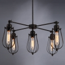 Industrial Chandelier with Cage Style Loft, 5 Light