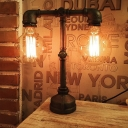 Industrial Metal Pipe Table Lamp, Double Light 16.5'' Height