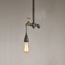 Industrial Tap Pendant Light in Black Finish, 8'' Width