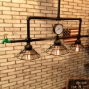 Industrial Pipe Island Light with Pressure Gauge and Tap Accent in Cone Shape, 3 Lights