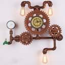 Industrial Wall Sconce with Gear, Tap, Gear and Clock Accent in Copper Finish