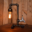 Industrial Retro Tap Table Lamp in Black Finish, 11.8'' Height