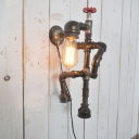 Industrial Climbing Robot Wall Sconce with Water Valve Accent
