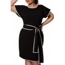 Fashion Elegant Round Neck Short Sleeve Tied Waist Color Block Midi Pencil Dress