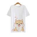 New Fashion Cartoon Dog Pattern Short Sleeve Round Neck Casual Unisex T-Shirt