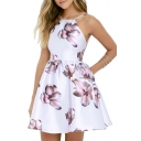 Elegant Fashion Spaghetti Straps Sleeveless Open Back Floral Printed Mini Cami Dress